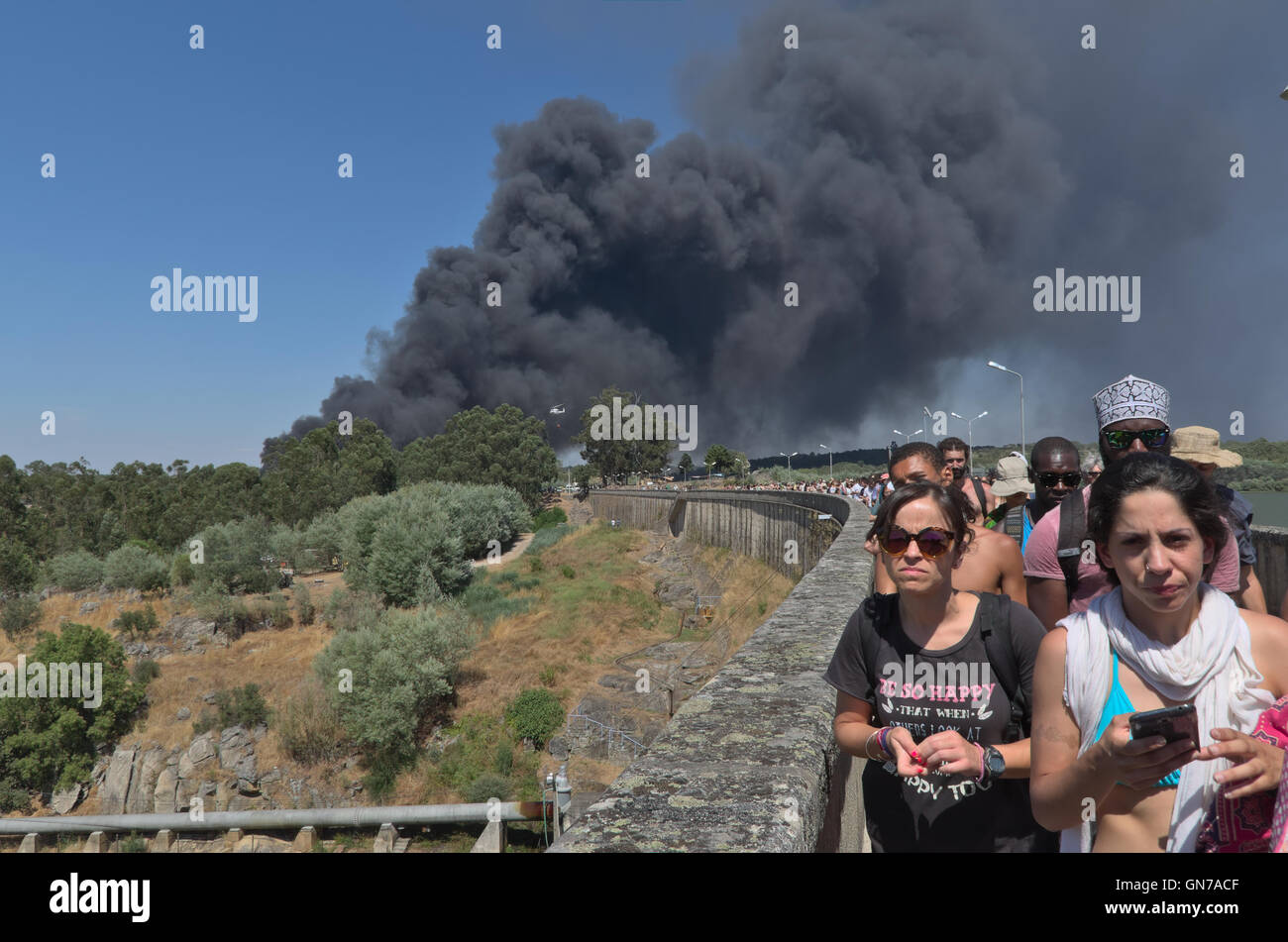 Image captured the day of the fire that occurred at the car park of the Dance Festival Andanças 2016 (August 3, Stock Photo