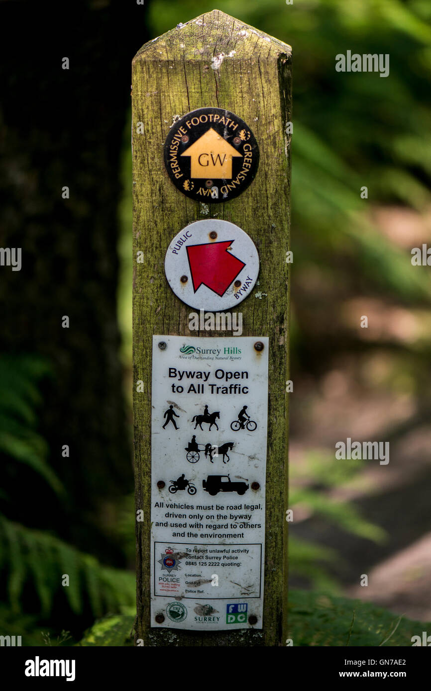 Highways and Byways marker post on one of the many walks in and around the Devil's Punch Bowl, Near Hindhead, - Stock Image