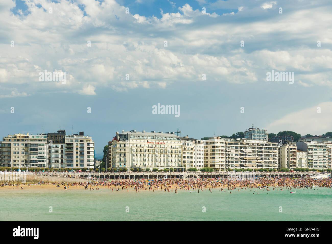 View of La Concha beach bay San Sebastian Donostia Spain - Stock Image