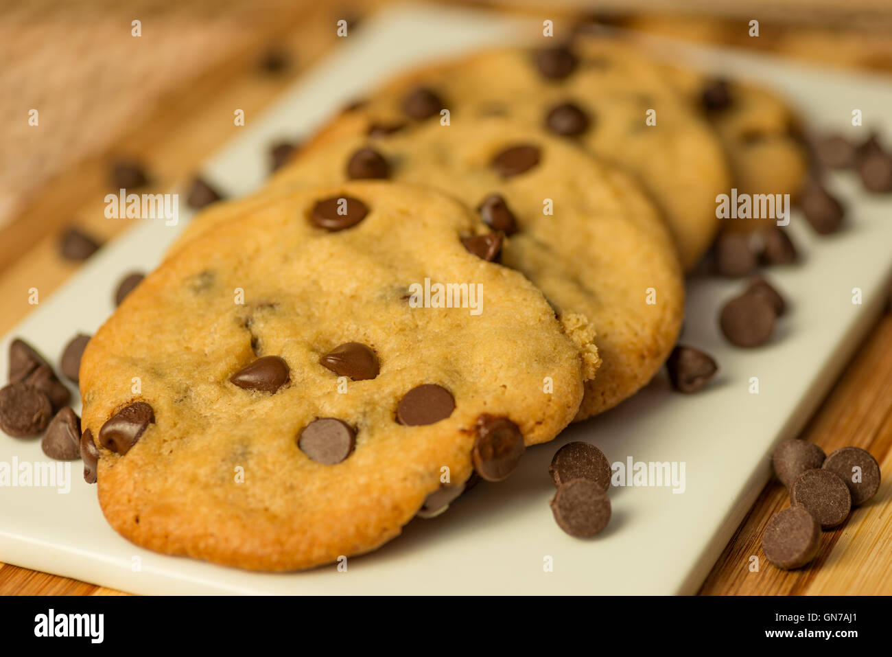 Vegan Chocolate Chips Cookies on a plate Stock Photo