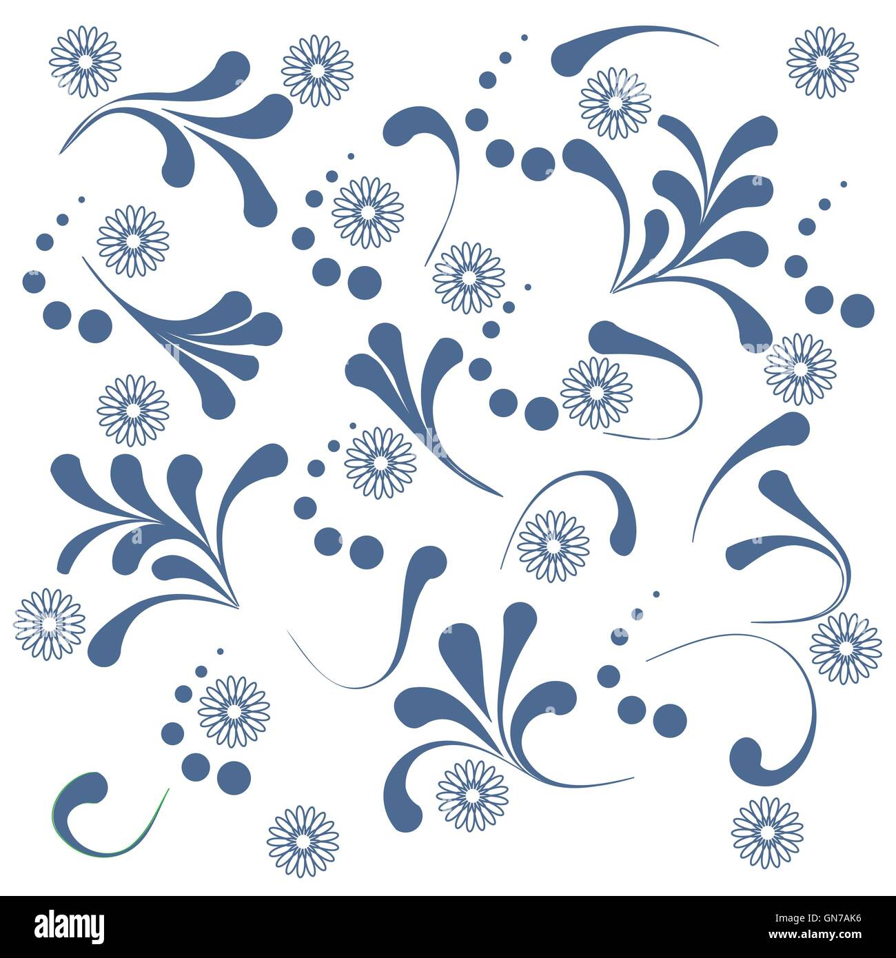 Cute pattern with various naive plants and contours of flowers on a white background - Stock Vector