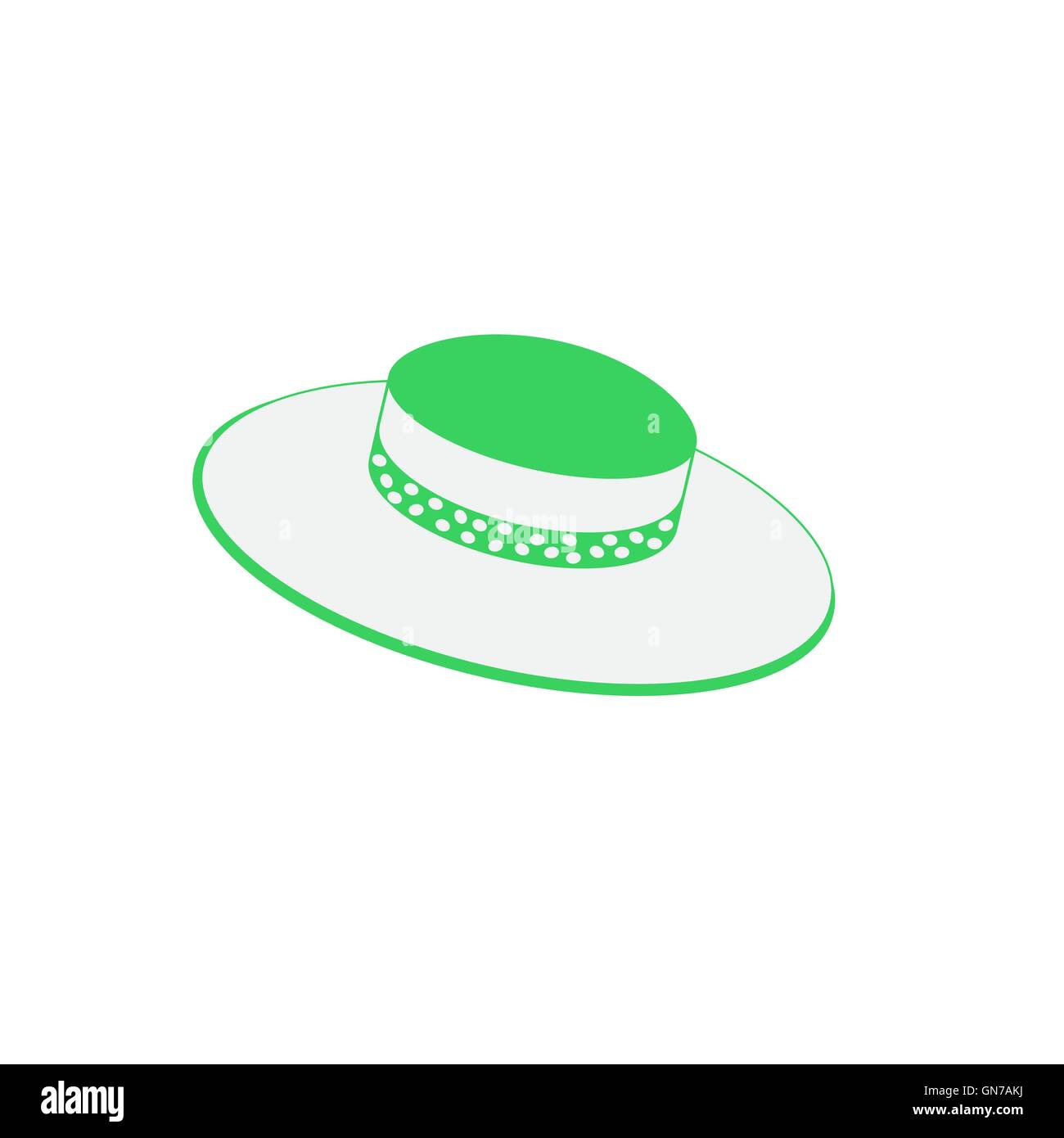Nice picture with fashion summer hat on a white background - Stock Image