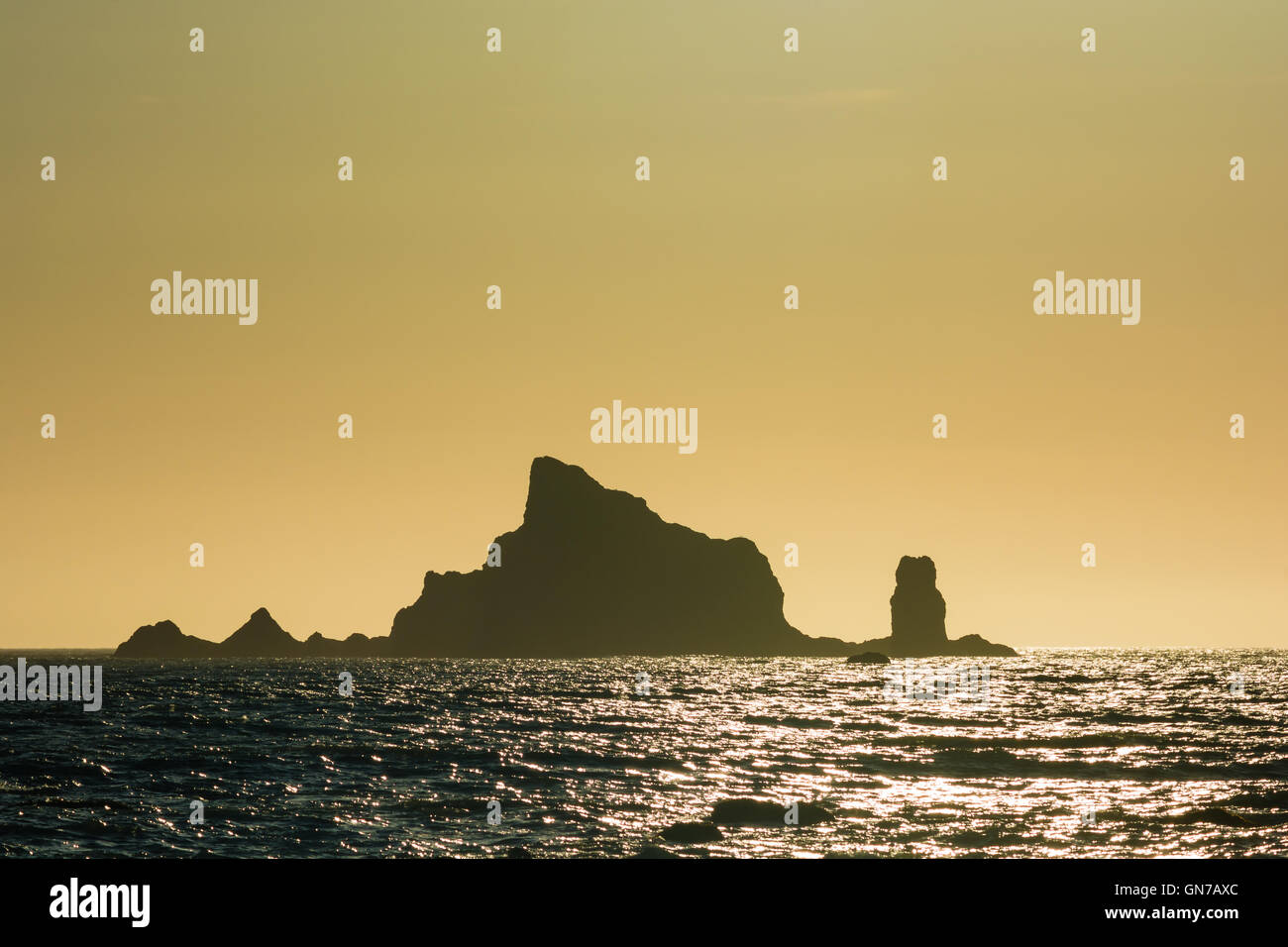 Islands at sunset at Rialto Beach in Olympic National Park, Washington, US Stock Photo