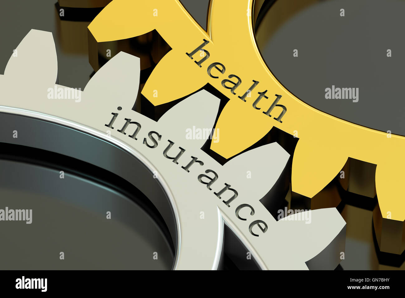 Health Insurance, concept on the gearwheels, 3D rendering - Stock Image