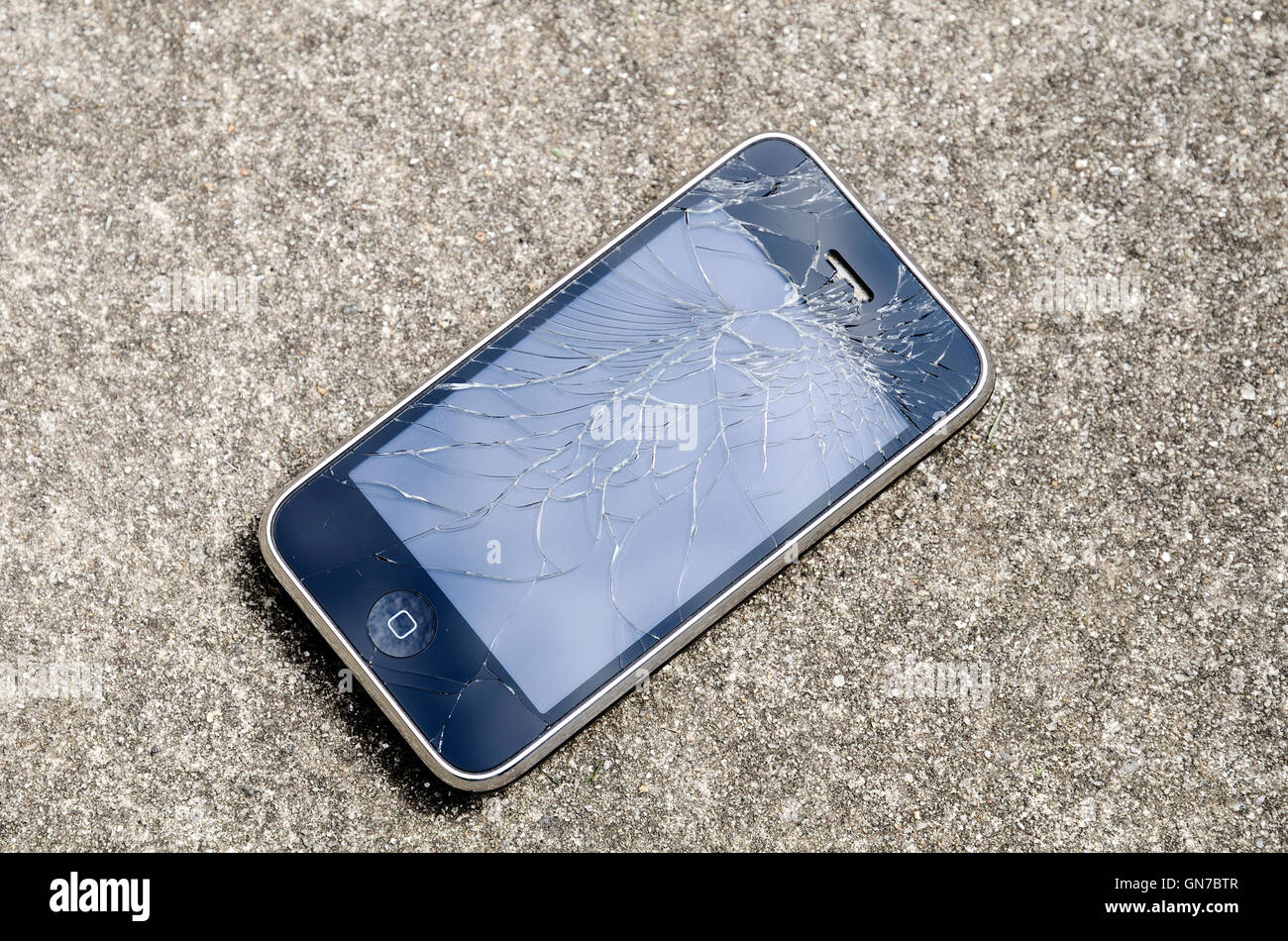 A ' Blackberry smart phone ' with a shattered screen - Stock Image