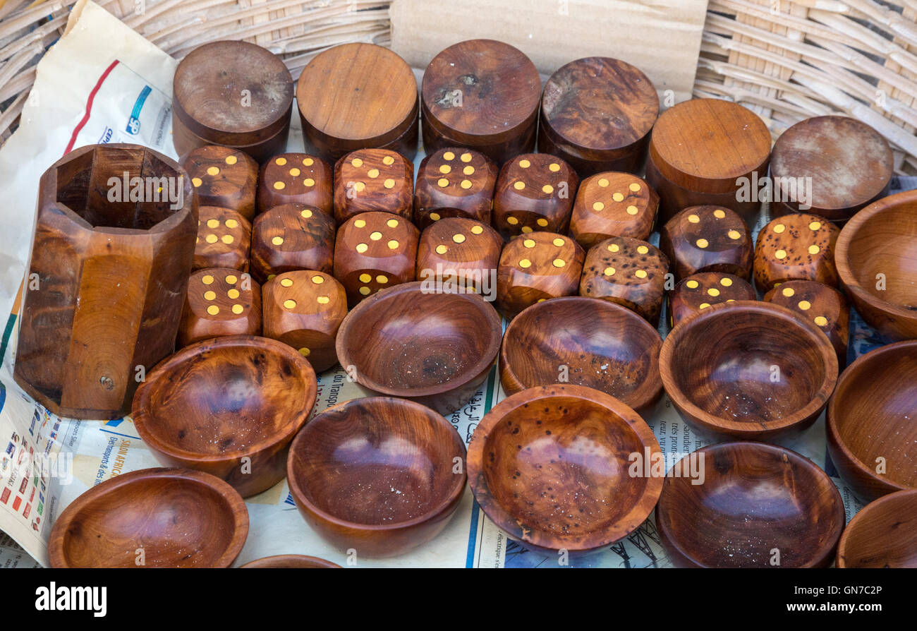 Essaouira, Morocco.  Boxes, Bowls, and Dice made from Thuya Wood. - Stock Image
