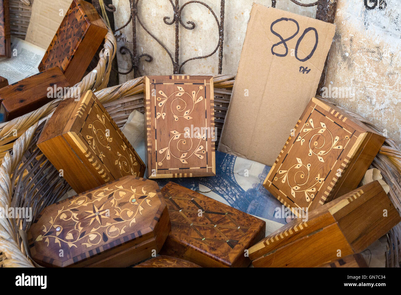 Essaouira, Morocco.  Boxes made from Thuya Wood. - Stock Image