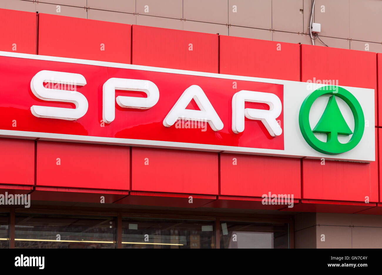 Logo of the supermarket SPAR is an international retail chain and franchise - Stock Image