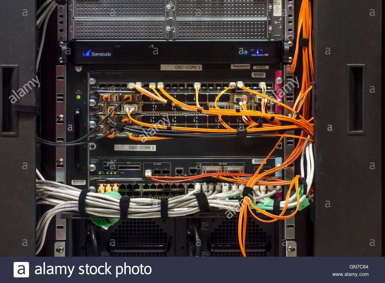 Mainframe computer that runs the Ontario Science Centre a museum in Toronto Ontario Canada wires wired Cisco computers - Stock Image