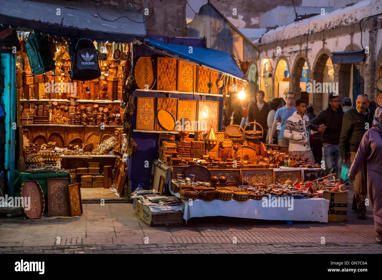 Essaouira, Morocco.  Shop Selling Souvenir Items of Thuya Wood. - Stock Image