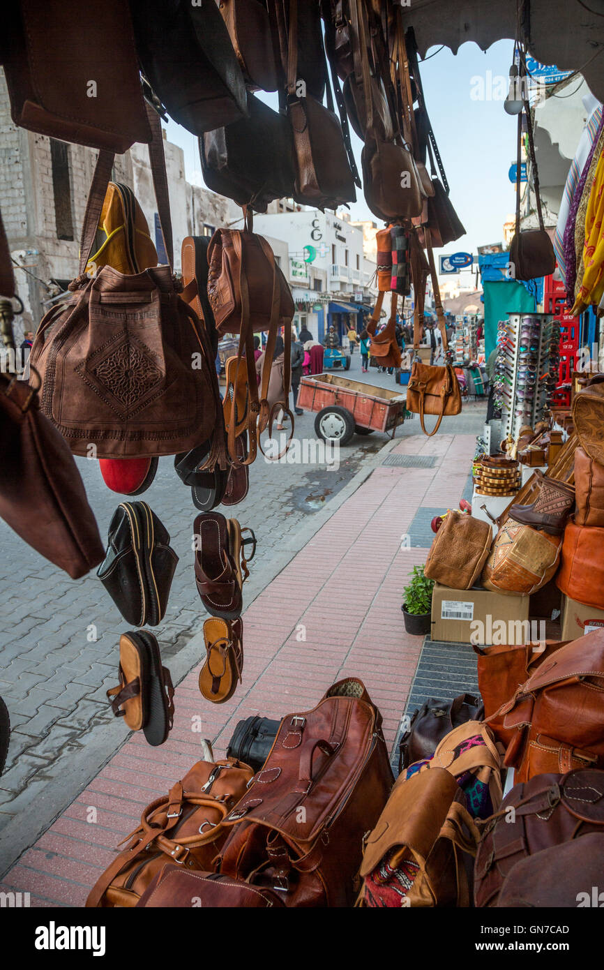 Essaouira, Morocco.  Avenue de l'Istiqlal Seen from a Leather Goods Shop. - Stock Image