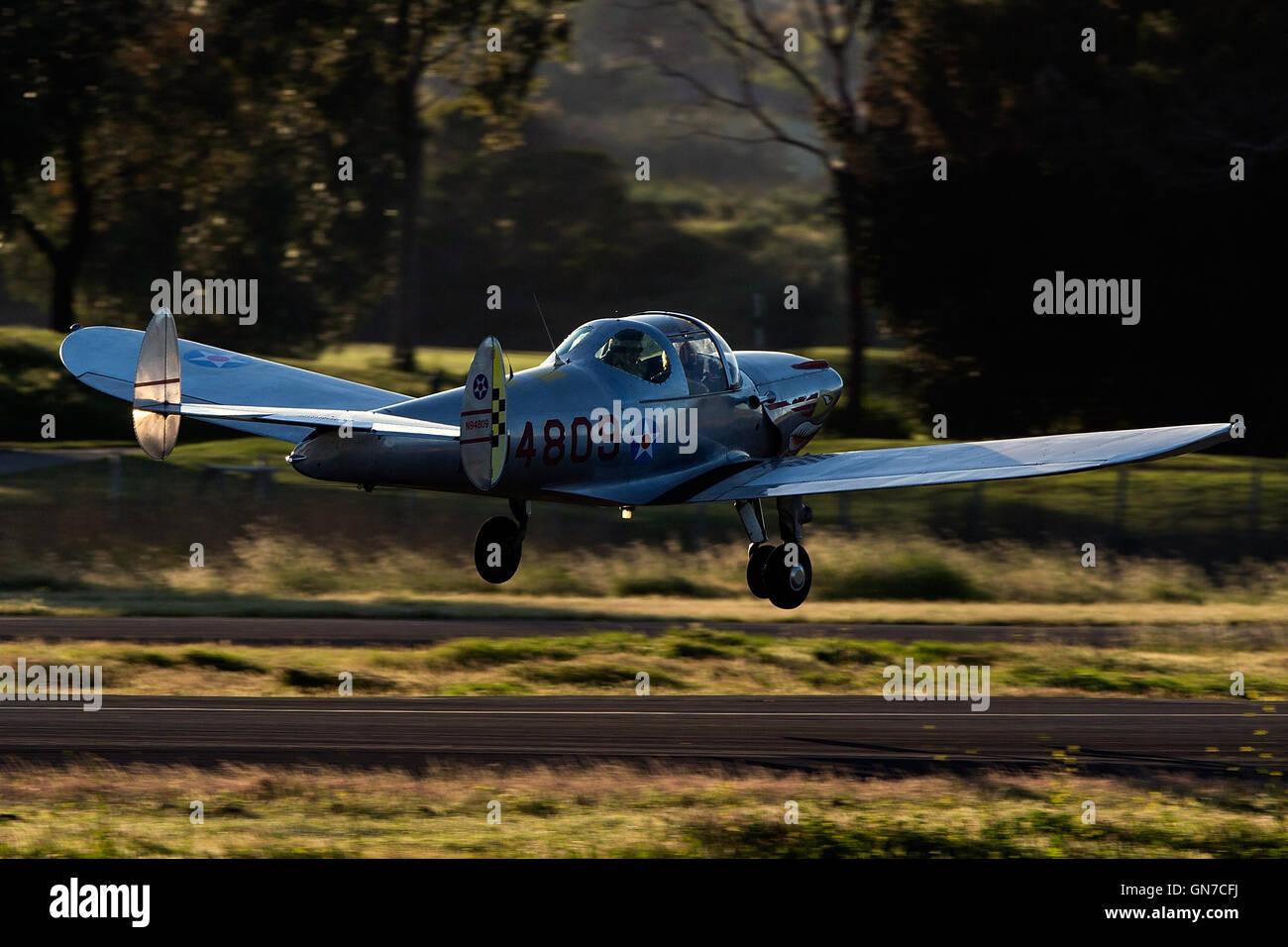 ERCO 415-E Ercoupe (N94809) takes off from Palo Alto Airport (KPAO), Palo Alto, California, United States of America - Stock Image
