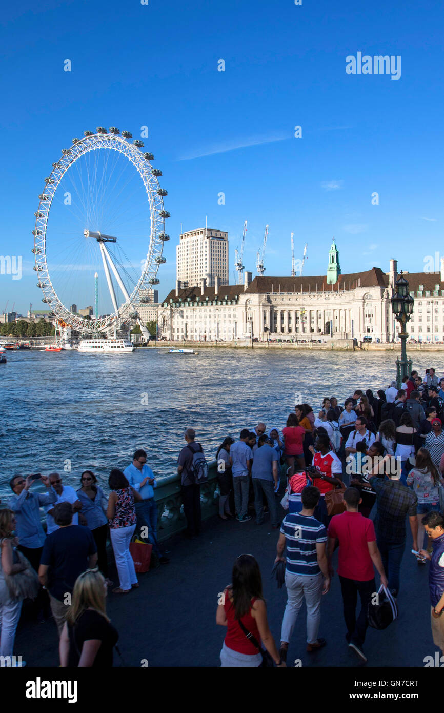 The London Eye giant Ferris wheel on the South Bank of the River Thames in  London Borough of Lambeth, UK summer - Stock Image
