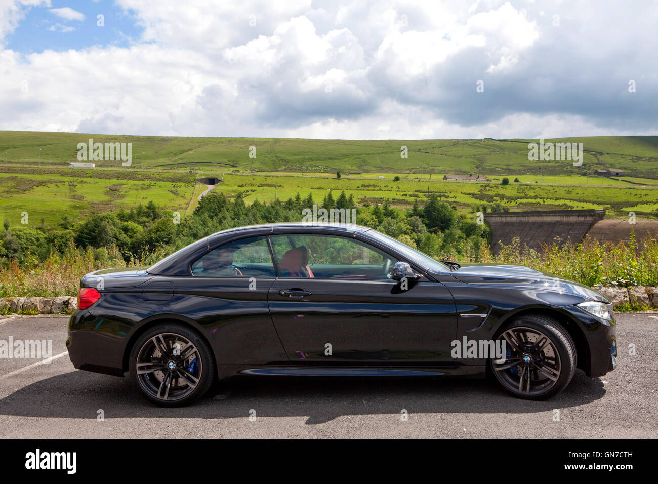 f83 black bmw m4 convertible 2 door coupe with red leather parked in stock photo 116333745 alamy. Black Bedroom Furniture Sets. Home Design Ideas