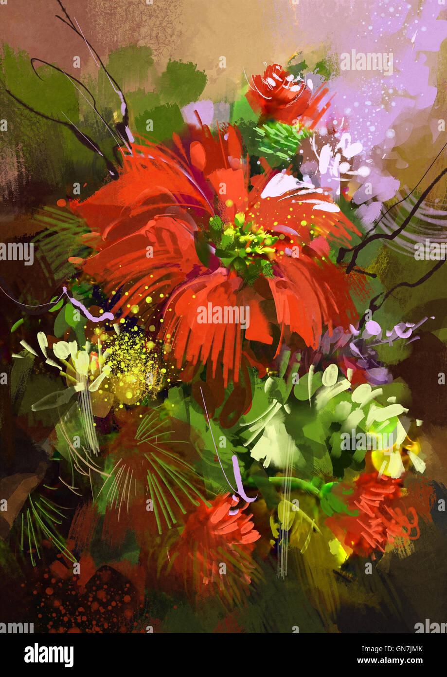 Oil Painting Beautiful Flowers Artwork Stock Photos & Oil Painting ...