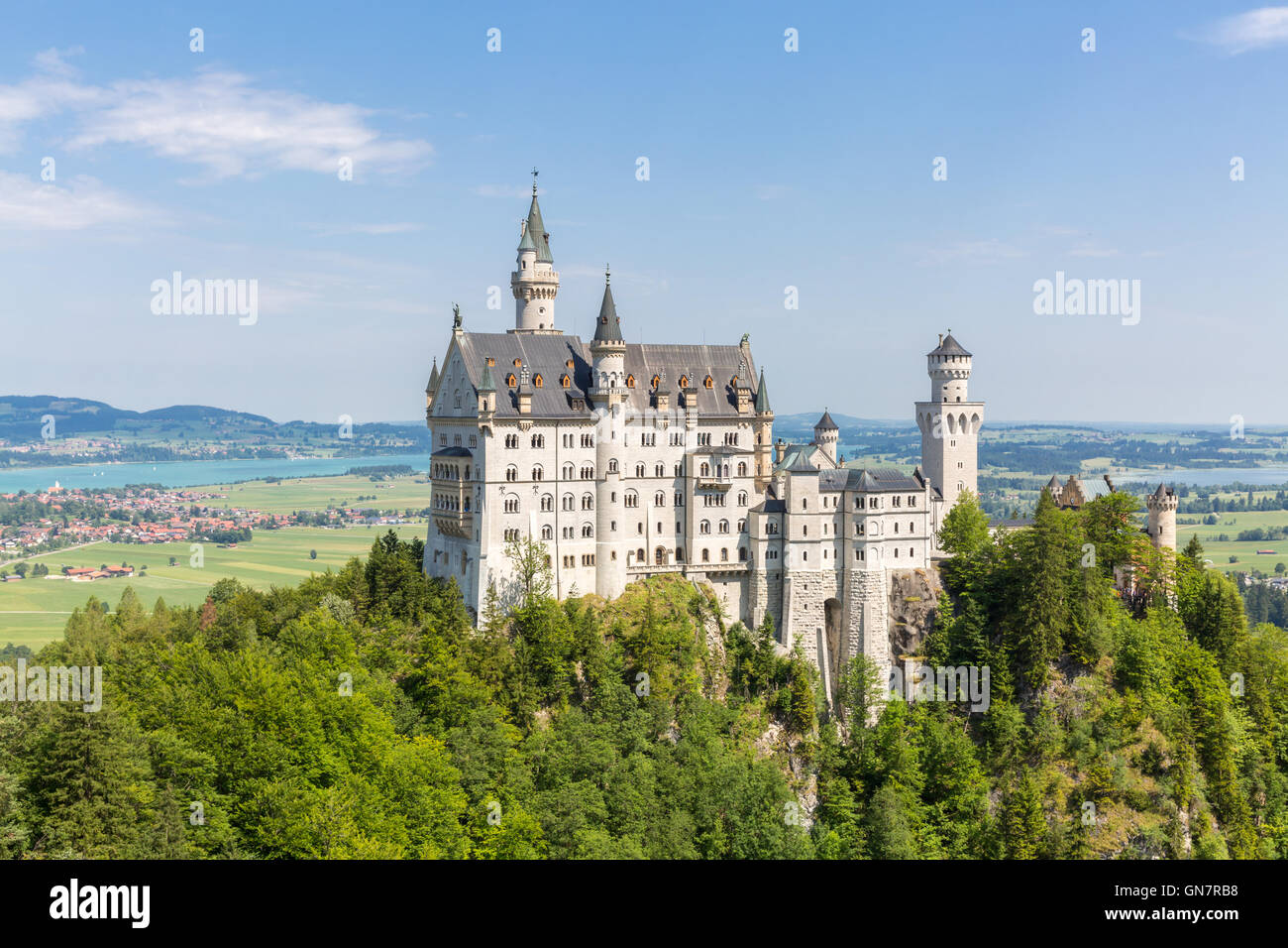 Beautiful summer view of the Neuschwanstein castle at Fussen Bavaria, Germany - Stock Image