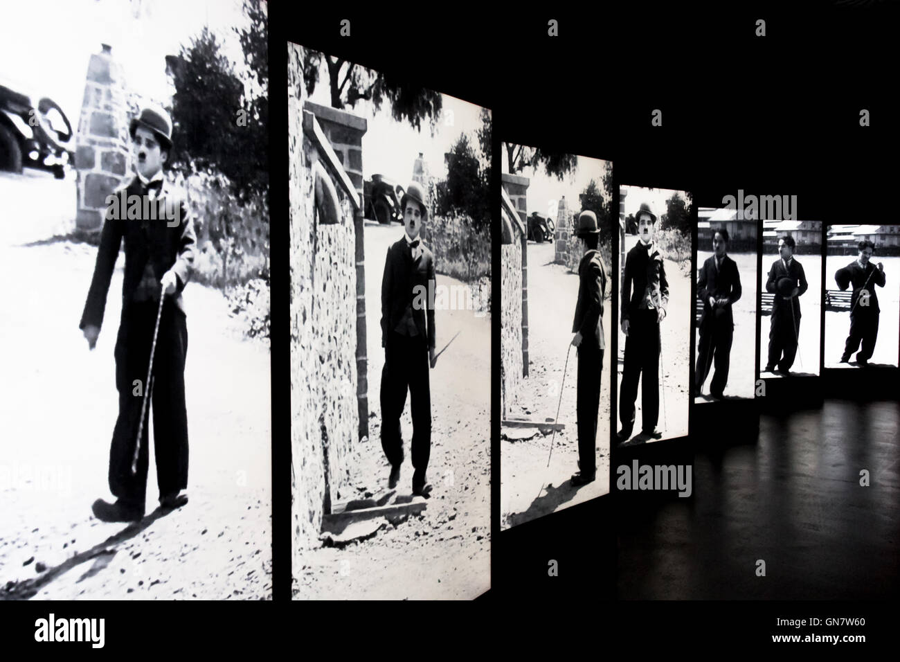 black and white screens with Charlie Chaplin - Stock Image