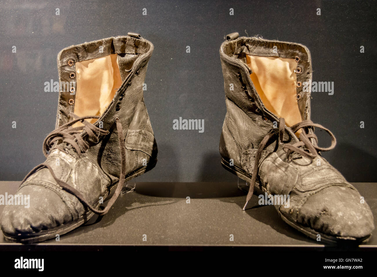 Charlie Chaplin's tramp old shoes - Stock Image