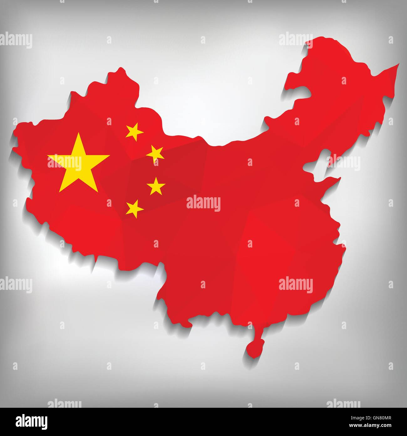 Map of China with geometric polygonal design - Stock Image