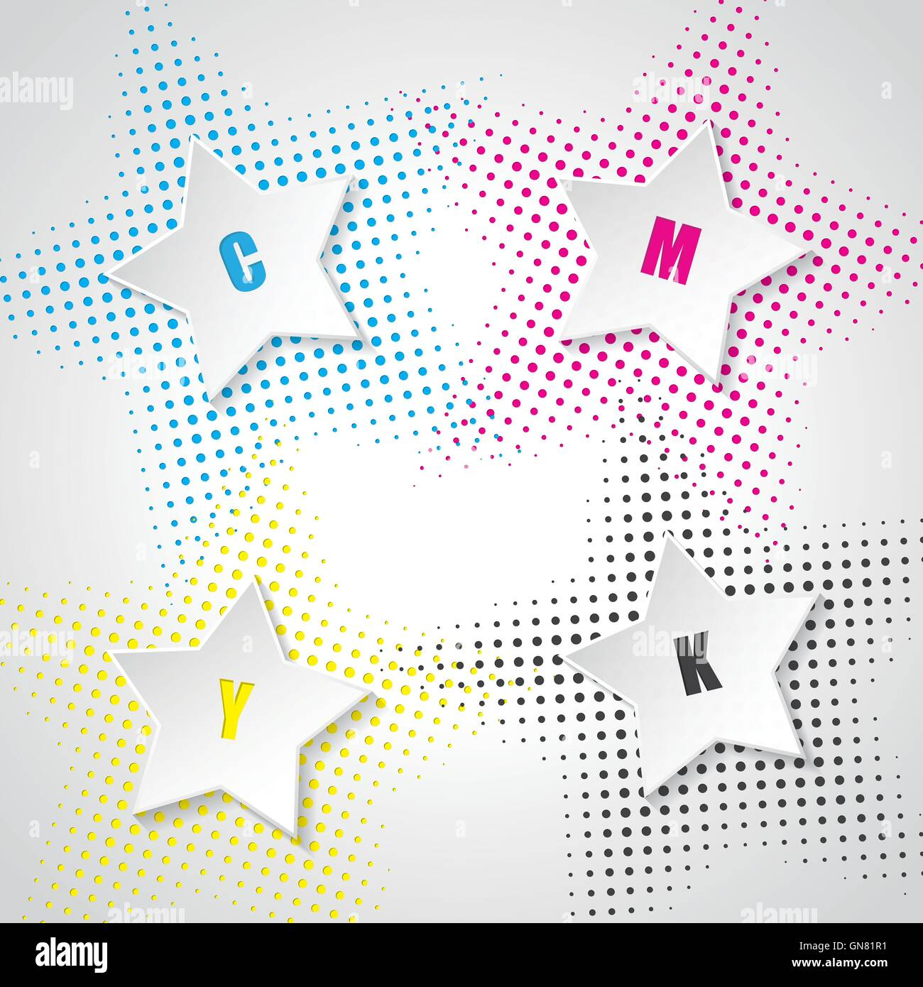 Abstract cmyk background with 3d stars - Stock Image