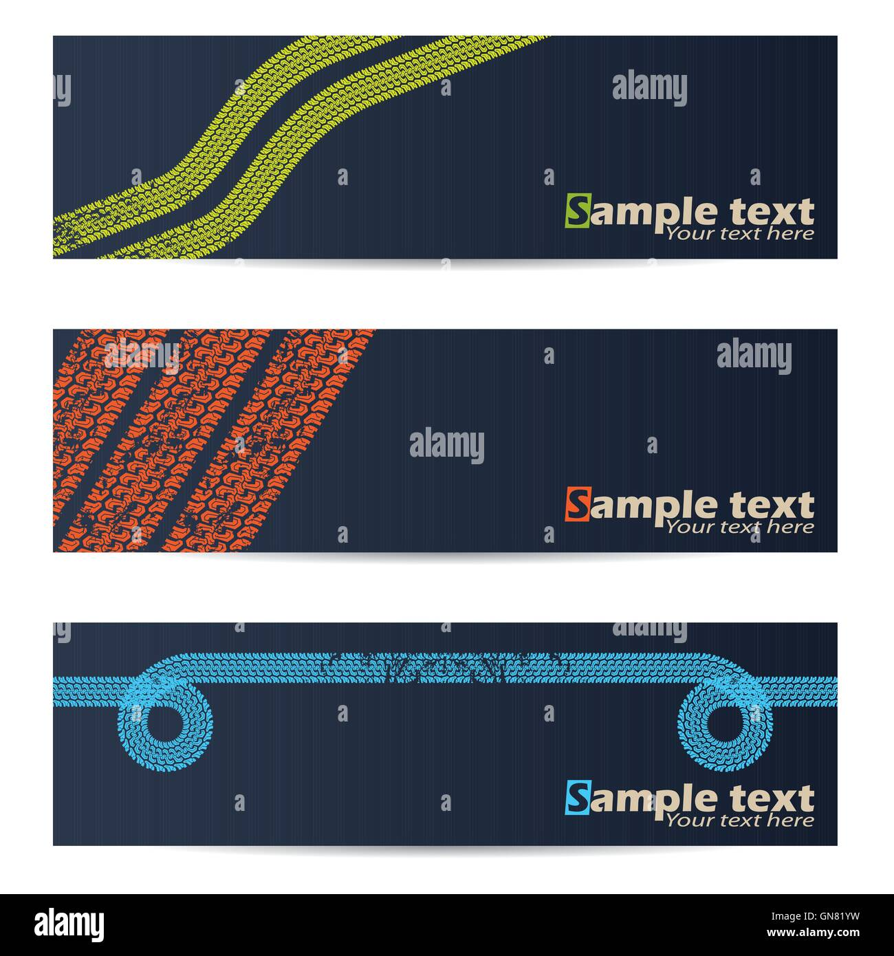 Cool tire track design banners - Stock Image