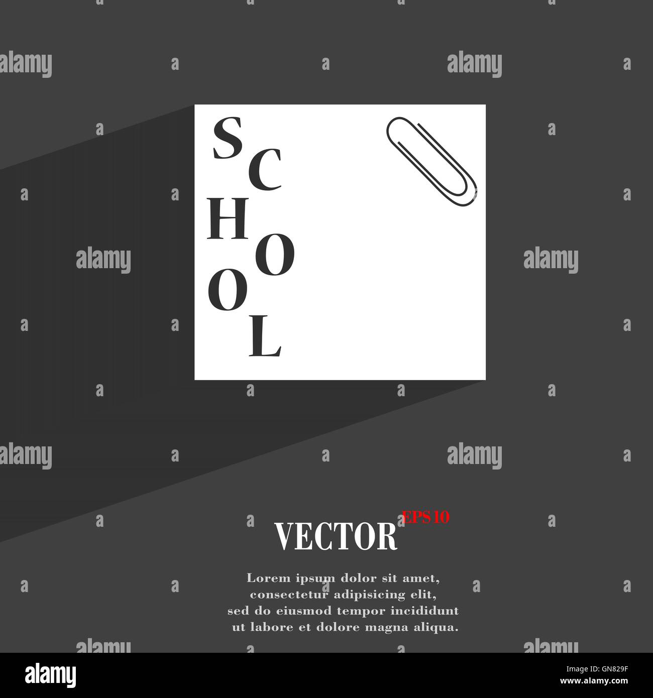 reminder sticker, note symbol Flat modern web design with long shadow and space for your text. Vector - Stock Image