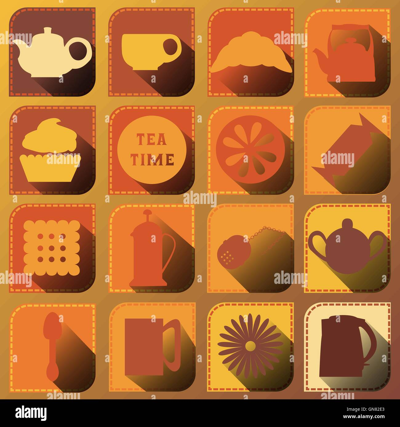 Set of 16 icons. Tea time. Brown tones - Stock Image