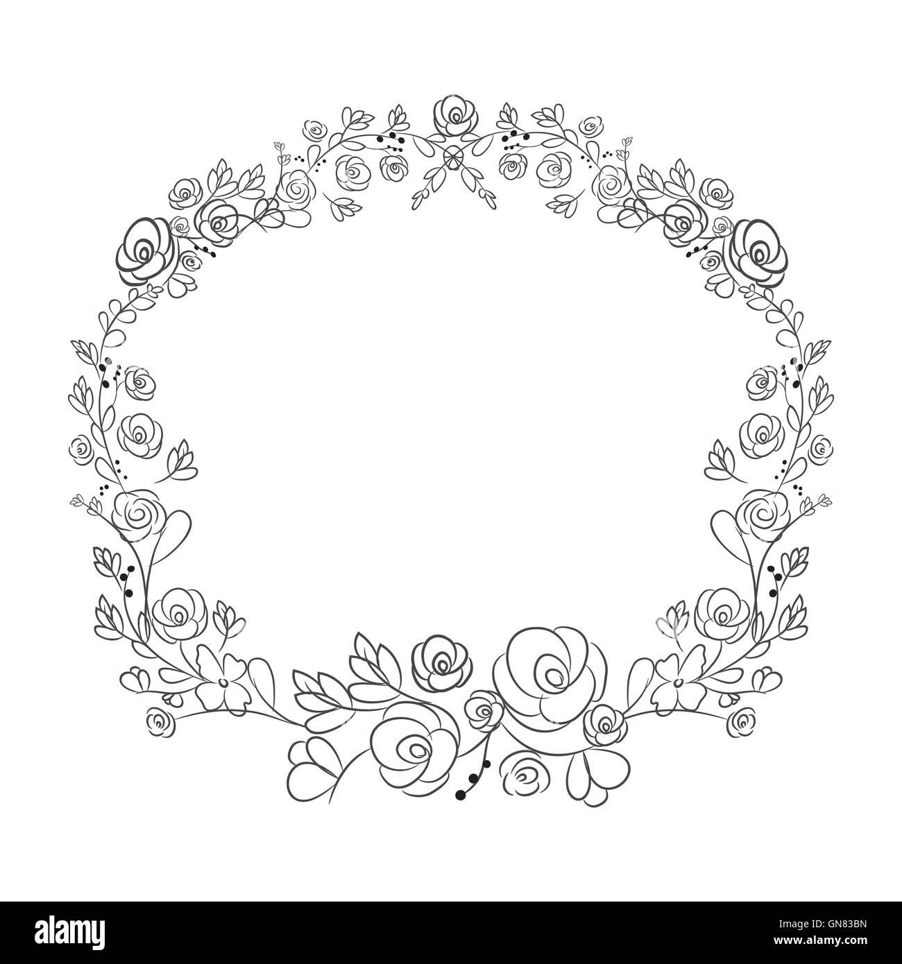 Spring flower wreath laurel branches. Vector hand drawn design Stock Vector