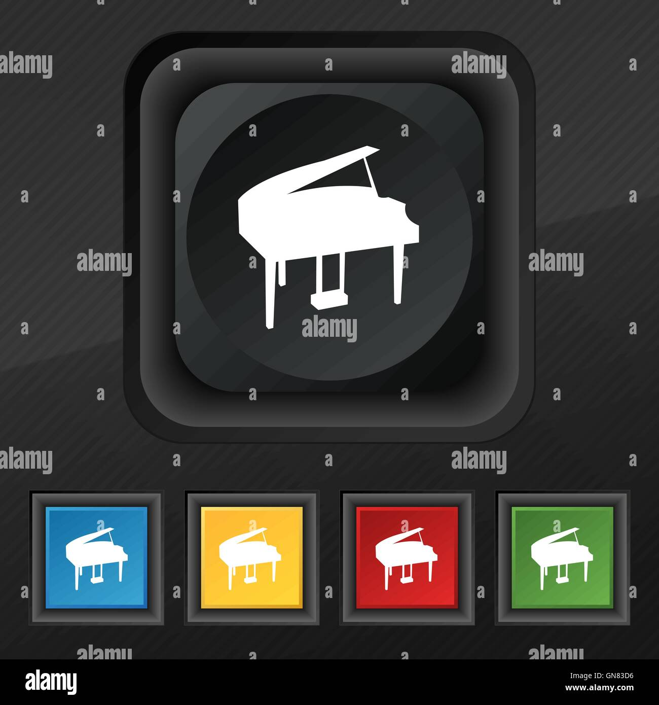 Grand Piano Icon Symbol Set Of Five Colorful Stylish Buttons On Black Texture For