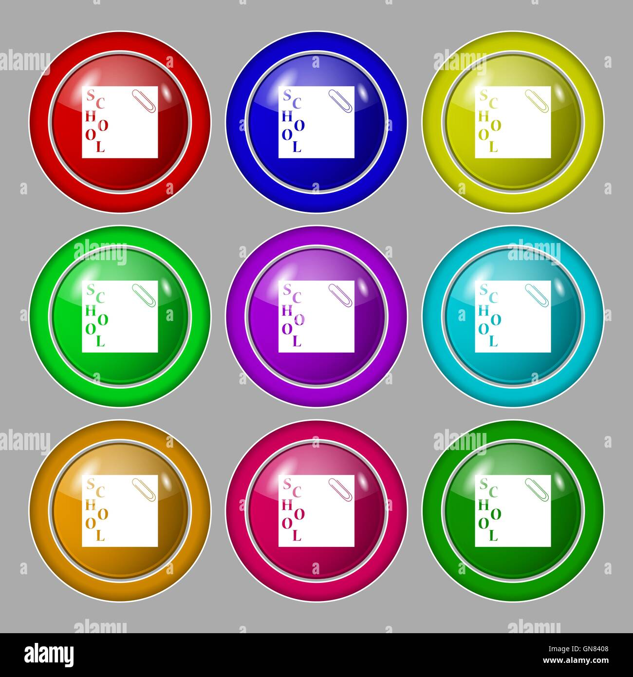 reminder sticker, note icon sign. symbol on nine round colourful buttons. Vector - Stock Image