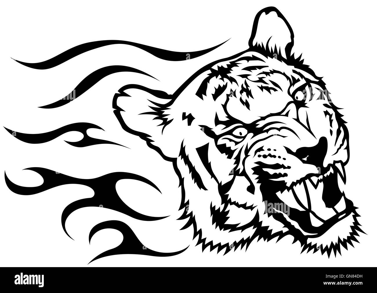 Tiger Head with Flames - Stock Vector