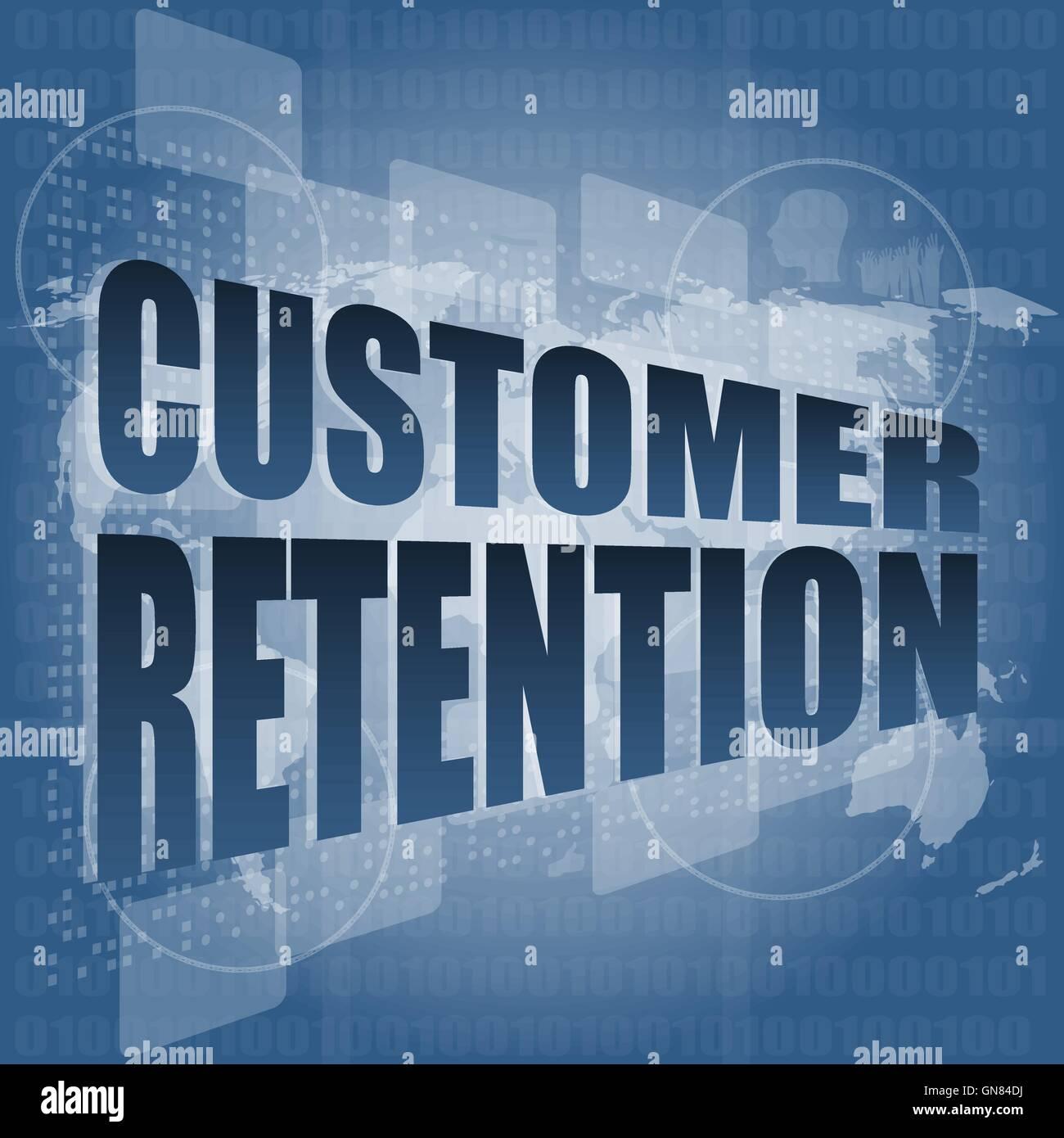 customer retention word on business digital screen vector illustration - Stock Image
