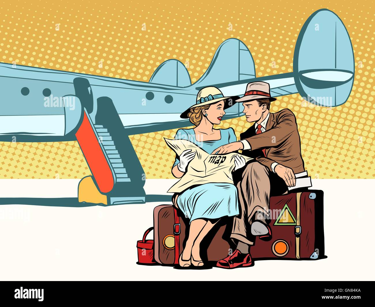 Tourists couple looking at the map, after landing - Stock Vector