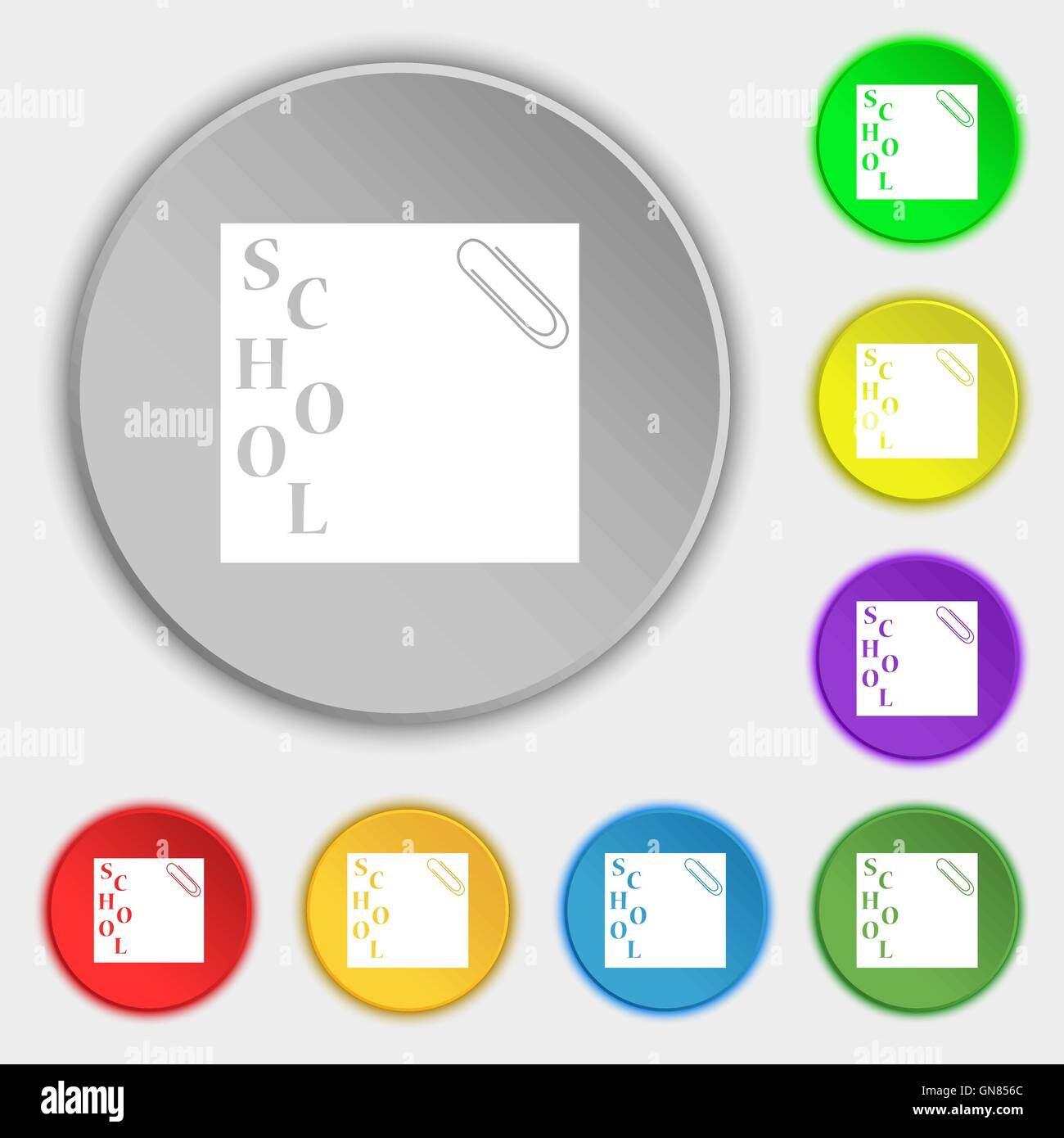 reminder sticker, note icon sign. Symbol on eight flat buttons. Vector - Stock Image