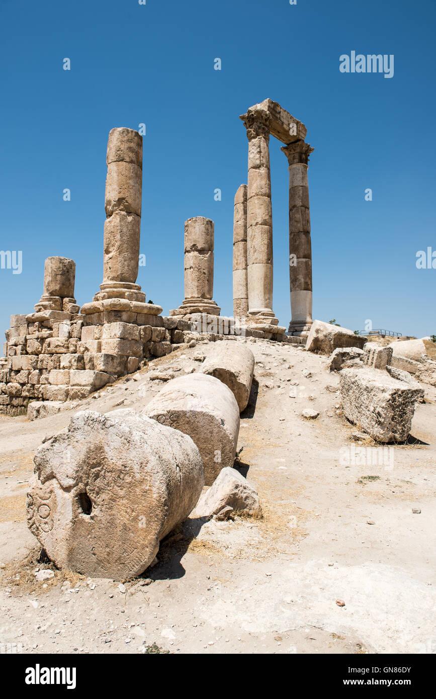 The ancient temple of Hercules in the Citadel of Amman, built during the emperor Marcus Aurelius - Stock Image