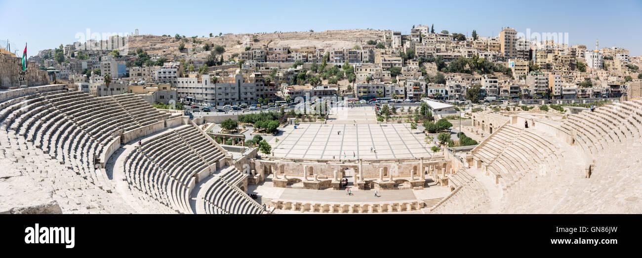 The Roman theatre of Amman, built during Emperor Antoninus Pius and restored in 1957 - Stock Image