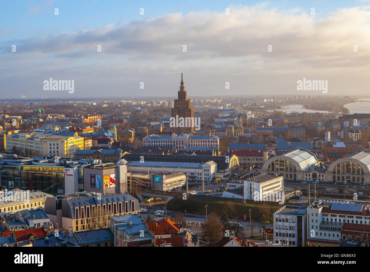 Aerial view of Riga city with Latvian Academy of Sciences, daytime, Riga, Latvia - Stock Image