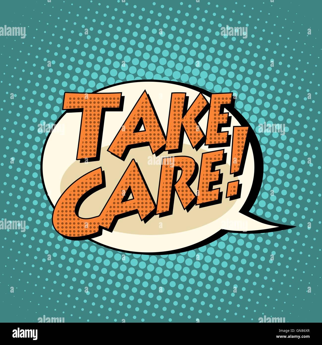 take care comic book bubble text - Stock Image