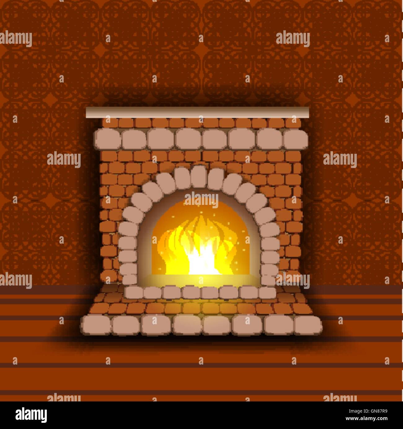 Stone fireplace with fire. Warm shades of red - Stock Vector