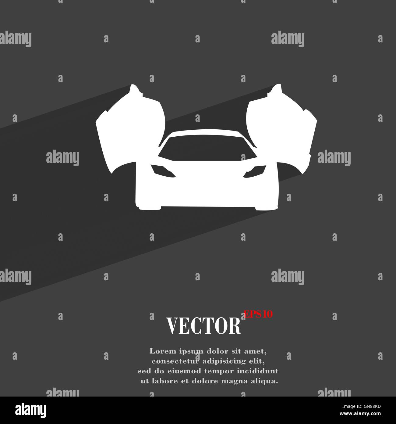 sports car symbol Flat modern web design with long shadow and space for your text. Vector - Stock Image