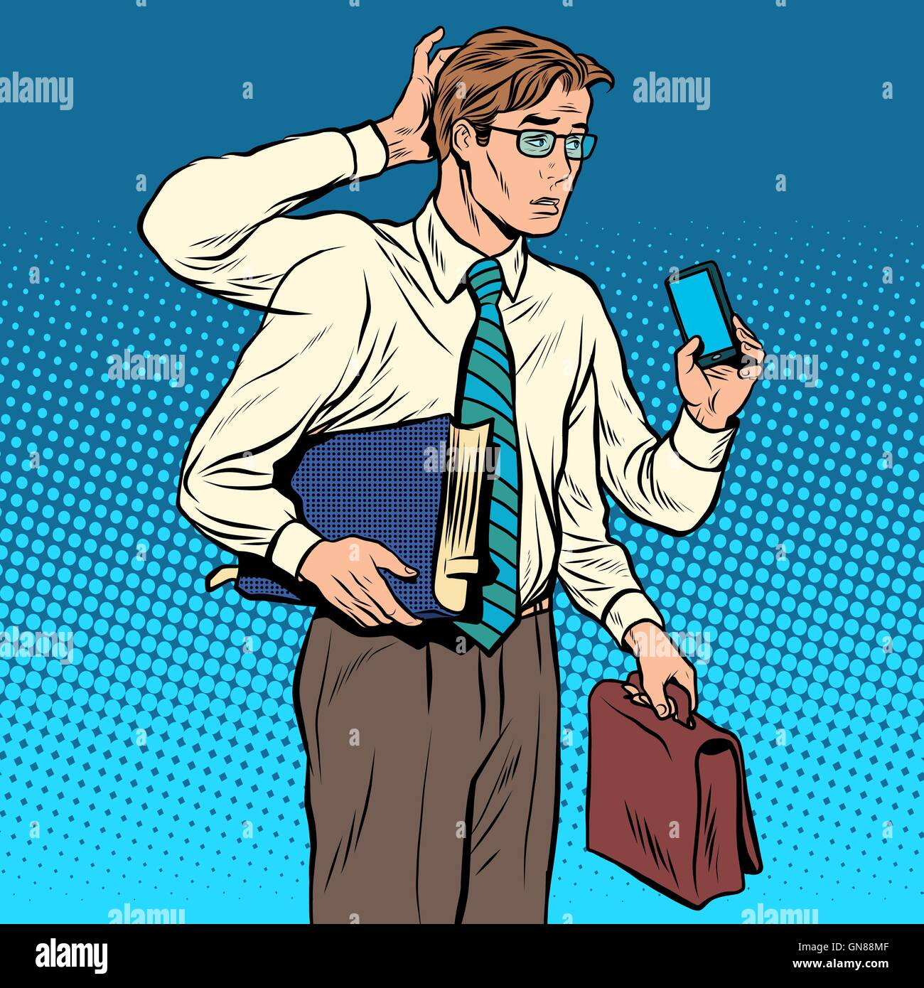 Business concept a lot of cases the multi-armed businessman - Stock Vector