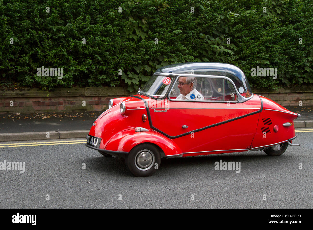 FMR, Messerschmitt, Kabinenroller, monocoque, TG500, at Ormskirk MotorFest with bubble cars in the historic town - Stock Image