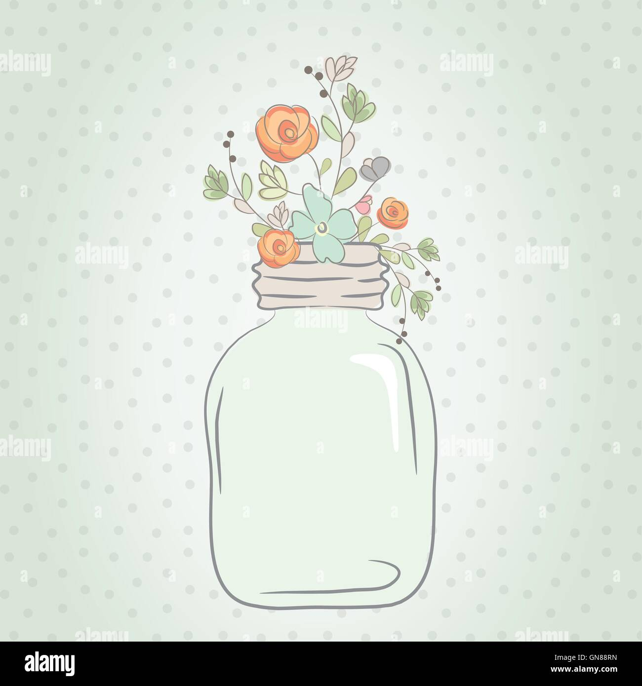 Cute bouquet of wedding flowers in a glass jar. Stock Vector