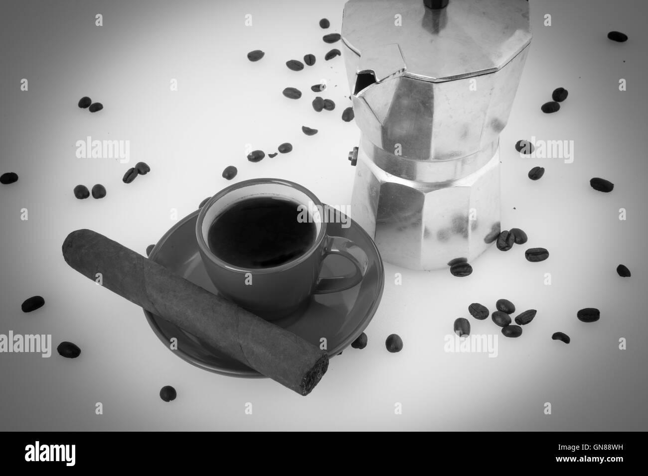 Cuban Coffee Beans Espresso Machine Cigar Black And White
