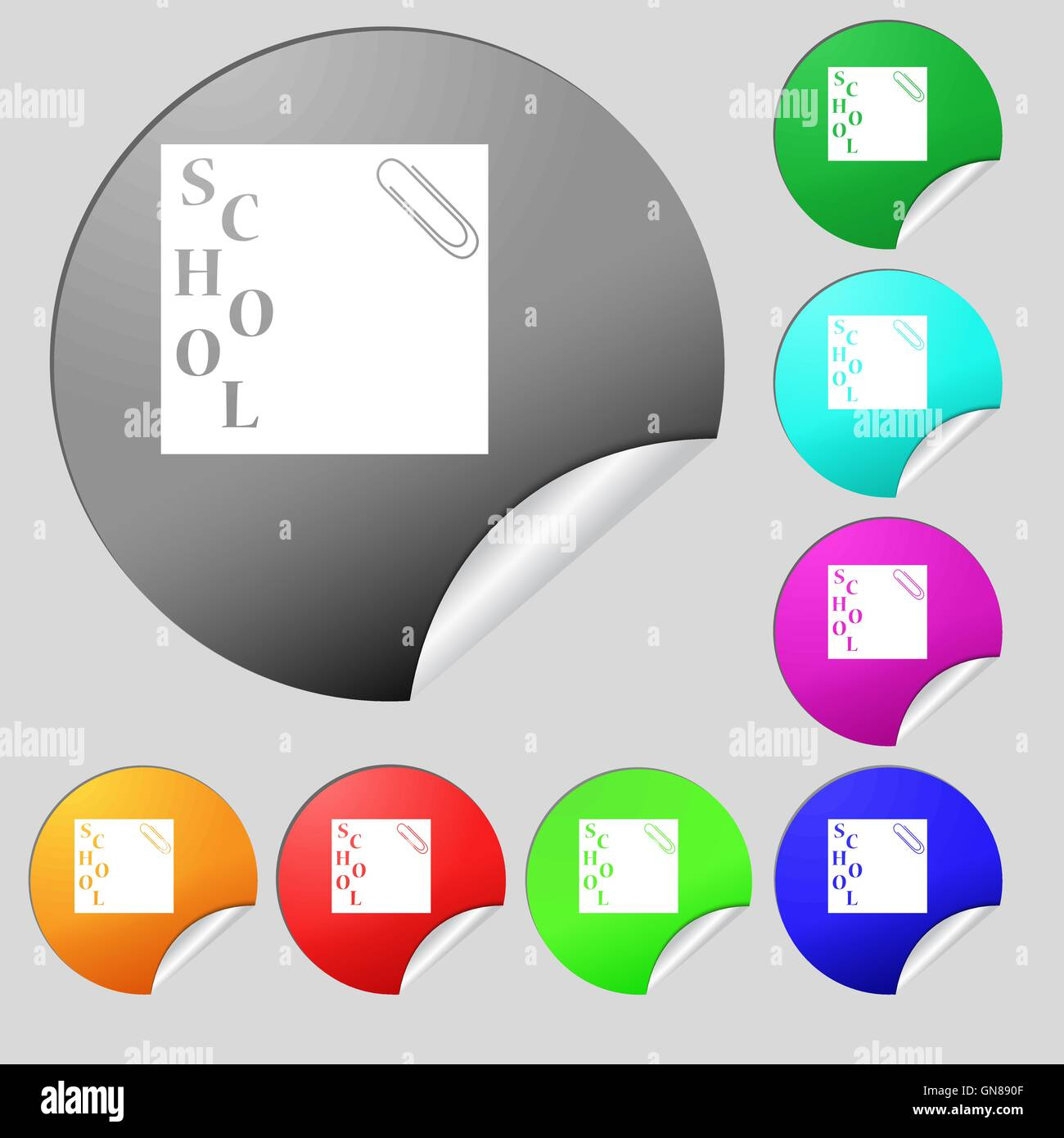 reminder sticker, note icon sign. Set of eight multi colored round buttons, stickers. Vector - Stock Image
