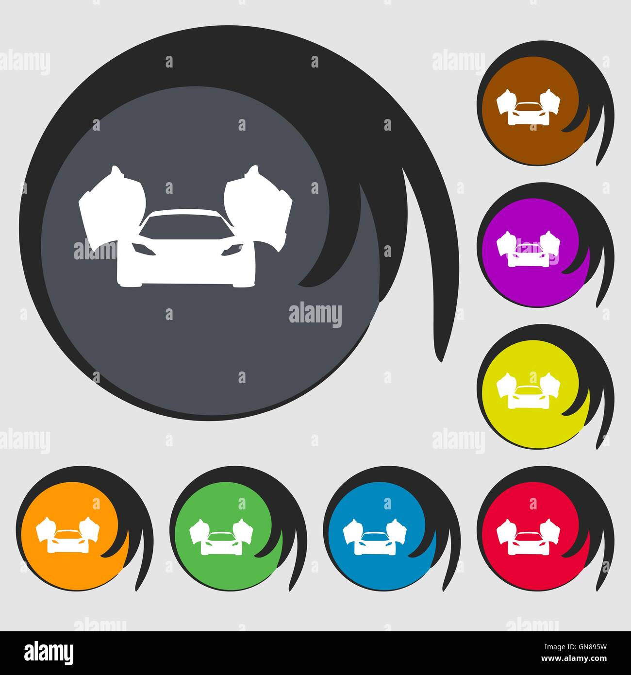 Sports Car Icon Symbols On Eight Colored Buttons Vector Stock