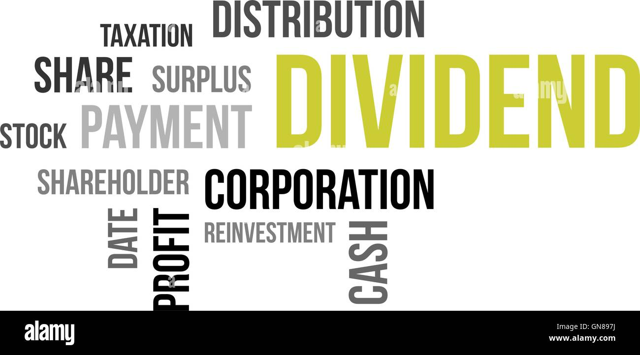 word cloud - dividend - Stock Image