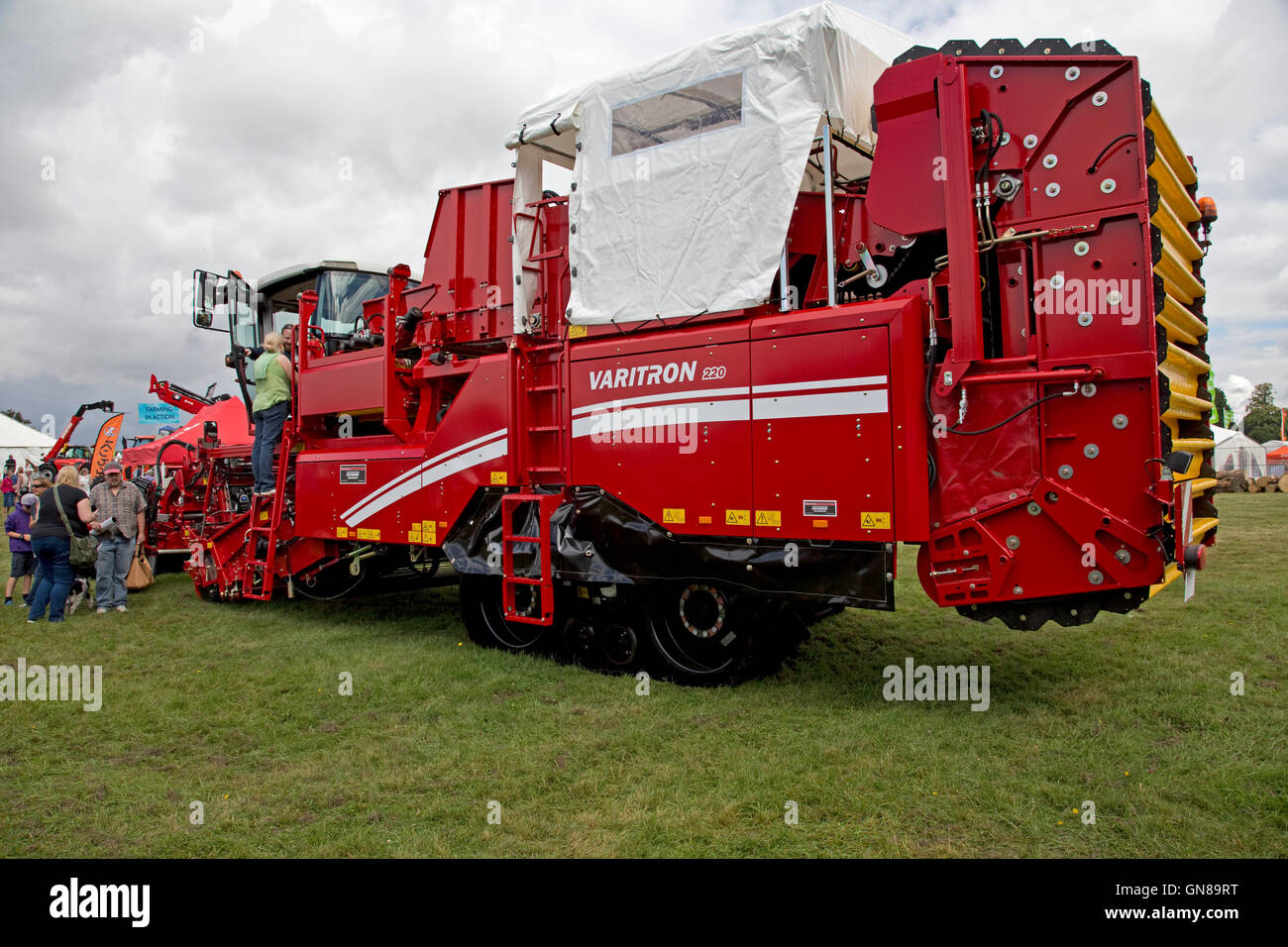 Red Varitron 220 self propelled potato harvester Countryfile Live Blenheim UK - Stock Image