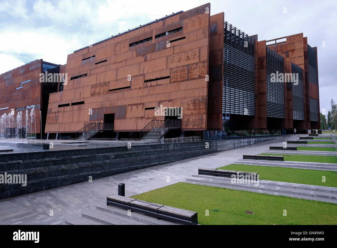 Exterior of the European Solidarity Center a museum and library devoted to the history of Solidarity, the Polish Stock Photo