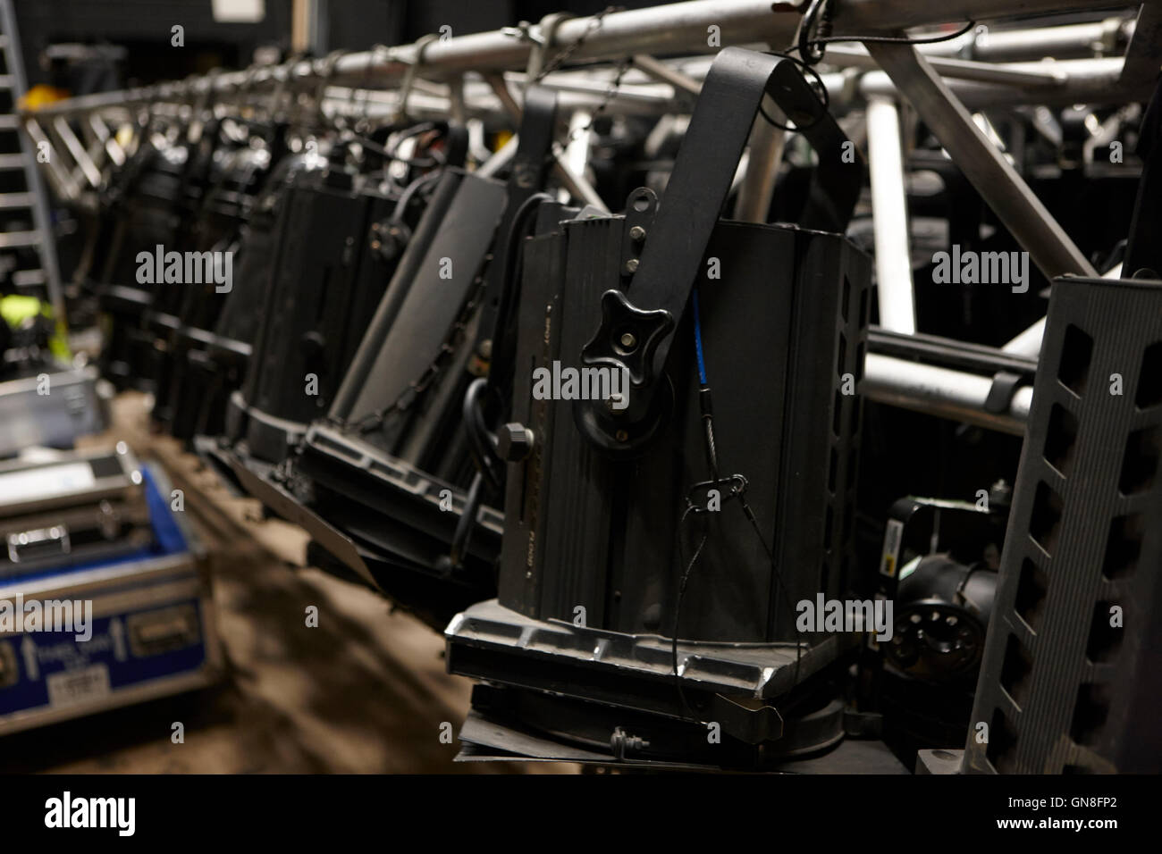backstage lighting rigs in a theatre - Stock Image